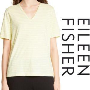 Eileen Fisher V-Neck Top Green Organic T Shirt